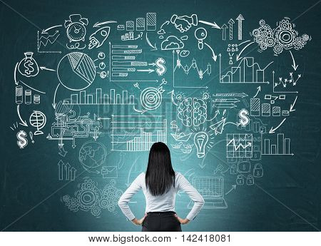Businesswoman standing with her back to viewer examining sketches on green blue chalkboard. Concept of research and development