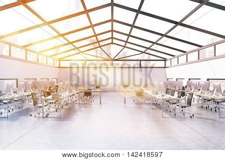 Office In Attic With Sunlight