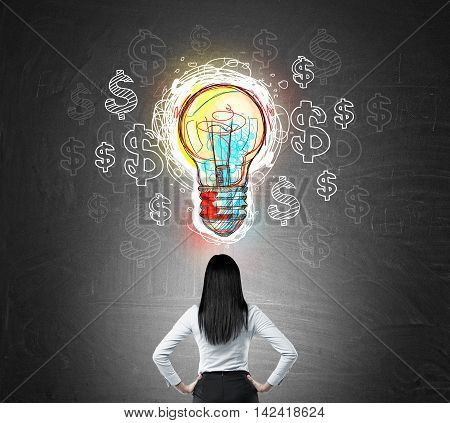 Rear view of woman staring at blackboard with colorful bulb and dollar signs on it. Concept of new way to make money
