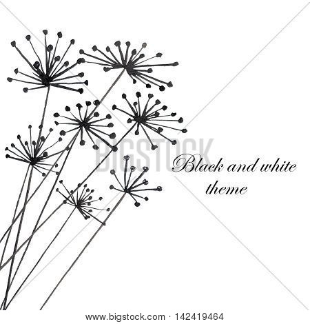 Illustration with black silhouette of fennel painted in watercolor on white background, postcard or decor