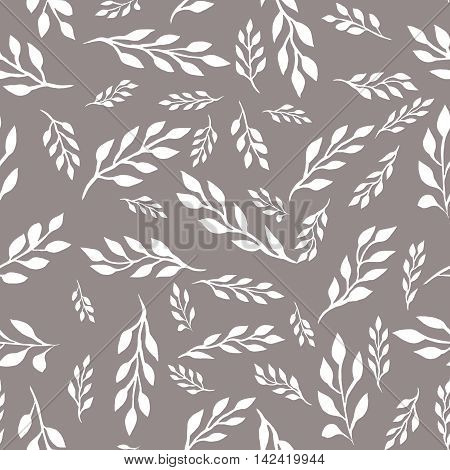 Bicolor seamless floral pattern with white leaves on the branches  on a grey background