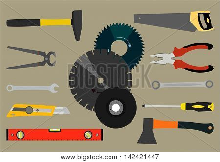 Vector illustration with the image of a saw, pliers, axes and other tools for construction and repair
