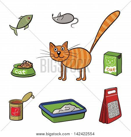 Striped cat and accessories for care. Vector illustration
