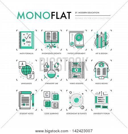 Modern Education Monoflat Icons