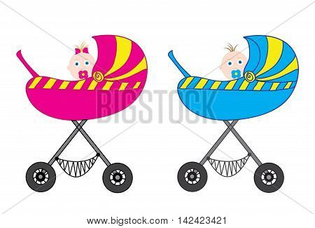 Baby carriage pink and blue boy and girl. Vector illustration