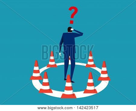 Businessman trapped in cordon. Concept business illustration. Vector flat