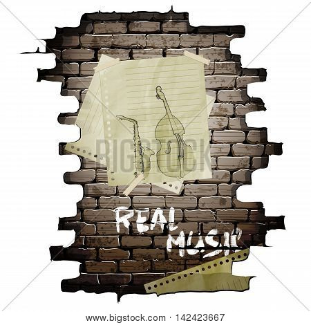 Musical instruments and contrabass saxophone drawn on a sheet of paper in a brick wall. The image on a white background and can be used with any text or background.