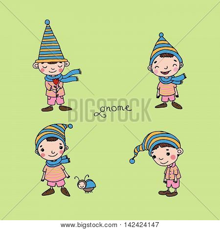 A set of cute little gnomes. Hand drawing isolated objects on white background. Vector illustration.