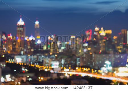 Twilight, blurred lights urban city and highway abstract background