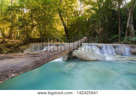 Natural blue stream waterfall in deep forest