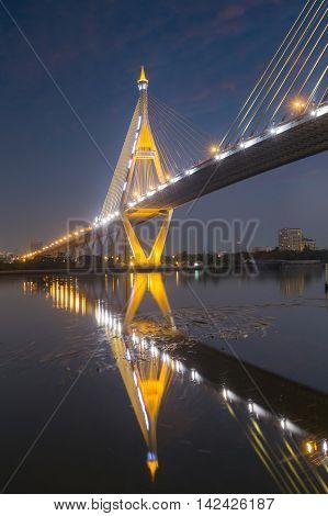 Water vortex under Industry Circle Bridge with water reflexion