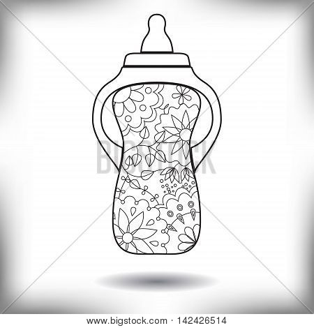 Vector baby feeding bottle painted silhouette isolated on white