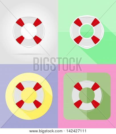 lifebuoy flat icons vector illustration isolated on background