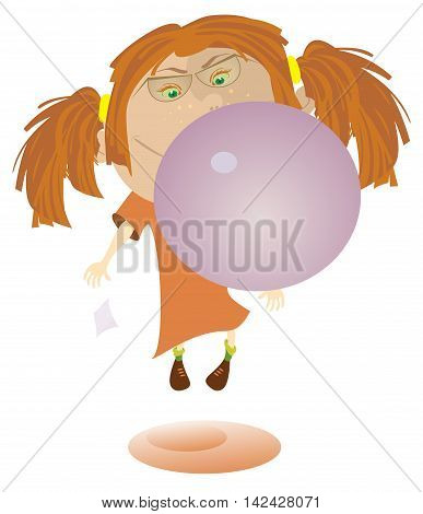 Girl and bubble gum. Funny girl blows bubble from the gum and flies