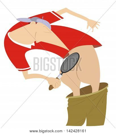 Sportsman, loupe and buttocks. Comic sportsman looking for something on his buttocks using a loupe