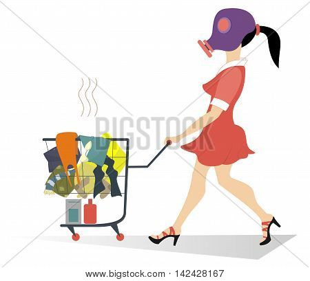Dirty laundry. Girl in the gas mask wheels a trolley with dirty laundry