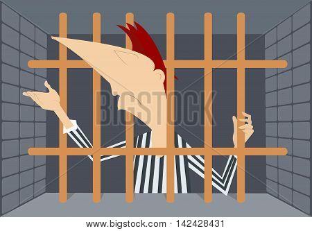 Prisoner. Cartoon prisoner stays behind bars and asks forgiveness