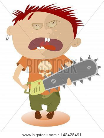 Crazy boy. Angry kid holding a chainsaw