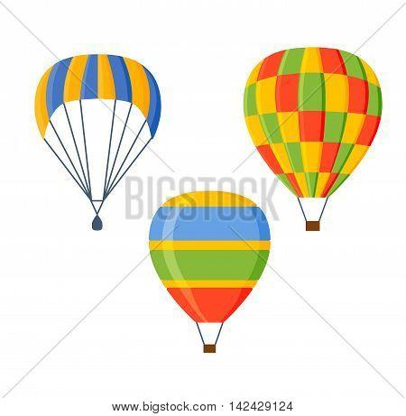 Illustration fly parachute flat icon cartoon graphic. Modern parachute extreme transport sky adventure journey and air parachute travel transportation flight airship. Hight jump down