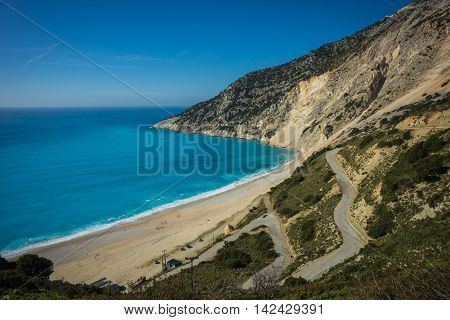 Picturesque Mirtos beach on the island of Kefalonia in Greece