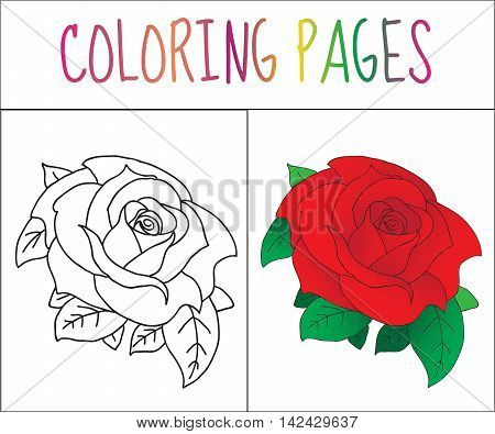 Coloring book page Rose. Sketch and color version. Coloring for kids. Vector illustration