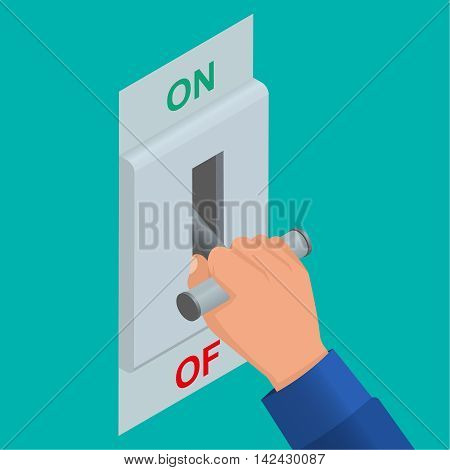 Hand which is switching off a knife switch. Electric chain is switched off. Vector isometric background