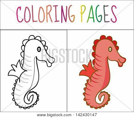 Coloring book page seahorse. Sketch and color version. Coloring for kids. Vector illustration