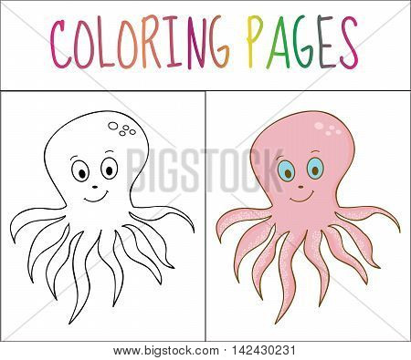 Coloring book page octopus. Sketch and color version. Coloring for kids. Vector illustration
