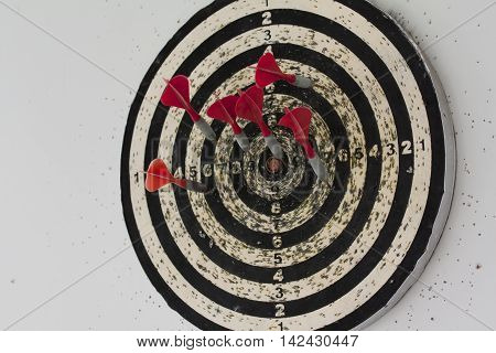 Dart Board With Hanging On The Wall
