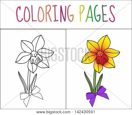 Coloring book page flower iris. Sketch and color version. Coloring for kids. Vector illustration