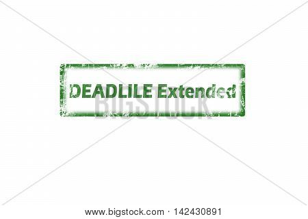 Rubber stamp with text deadline extended inside, grunge green stamp