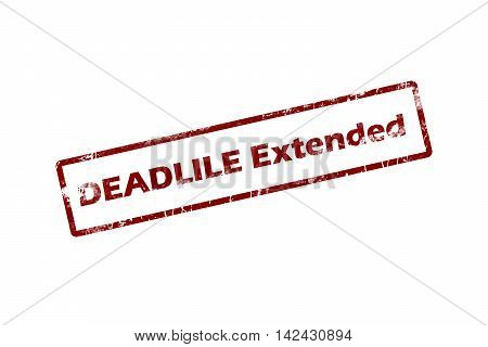 Rubber stamp with text deadline extended inside