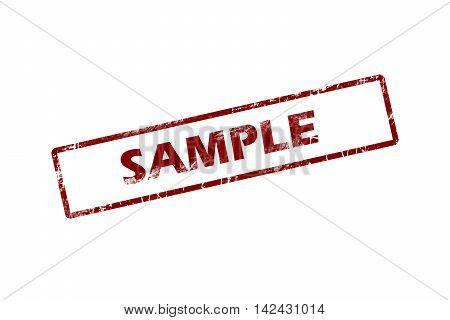 Rubber stamp with word sample inside, grunge red stamp
