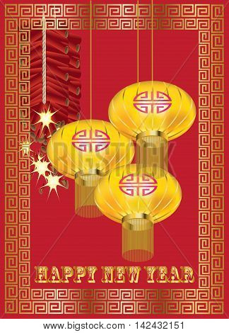Yellow lantern and red fire-crackers with golden pattern on red background