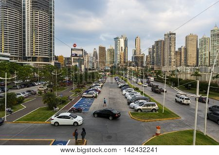 Panama City Panama - March 18 2014: View of the financial district in Panama City Panama.