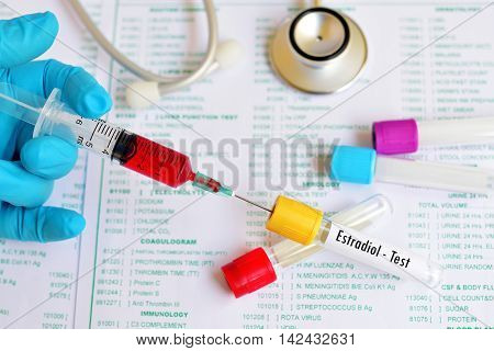 Blood sample for estradiol (E2) hormone test