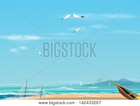 Sea landscape with old fisherman's boat at the beach. Digital illustration. Sea, beach and gull flying in sky. Watercolor Hand Drawn, Sea beach background.