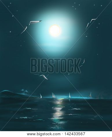 Night sea. Night sea beach digital illustration. Hand Drawn. Digital painting. Night sea party.