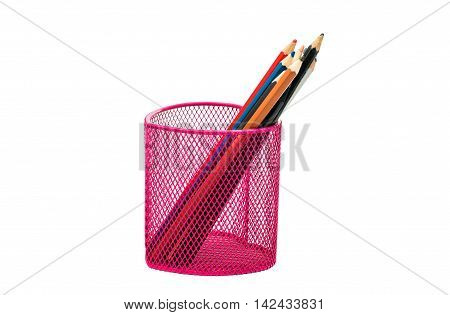 pencils in a pink basket on a white background