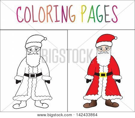 Coloring book page Santa Claus. Sketch and color version. Coloring for kids. Vector illustration
