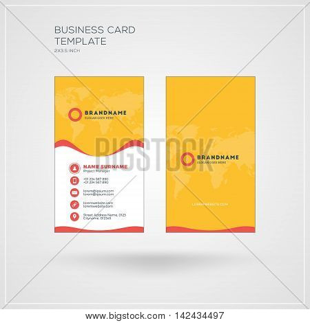 Vertical Business Card Print Template. Personal Visiting Card With Company Logo. Yellow And Red Colo