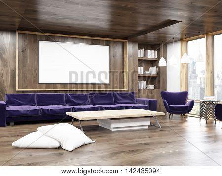 Living Room Interior With Purple Sofa