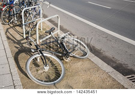 Bicycles tied safety on a street parking rack