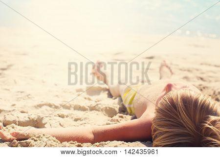 Suntan Boy Lie Down Sand Sea Sunny Day Travel