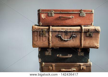 Vintage Pile Ancient Suitcases Concept Travel