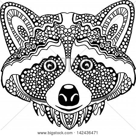Doodle Raccoon Drawing