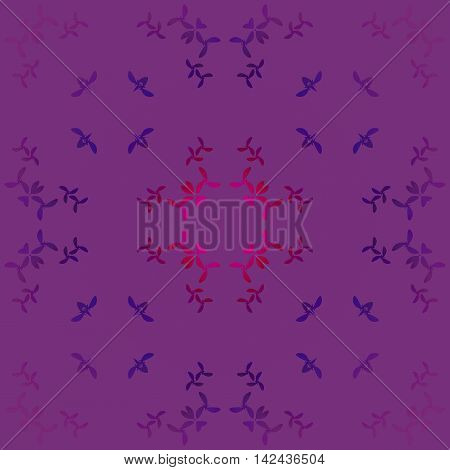 Abstract geometric seamless background. Modern regular pattern with magenta, red violet, dark brown, purple and dark blue elements on purple, centered and blurred.