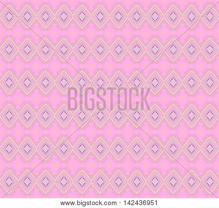 Abstract geometric seamless background. Regular diamond pattern orange, purple and mint green on pink.