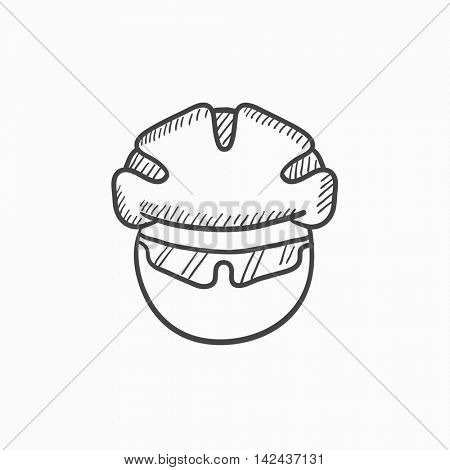 Man in bicycle helmet and glasses vector sketch icon isolated on background. Hand drawn Man in bicycle helmet and glasses icon. Man in bicycle helmet sketch icon for infographic, website or app.
