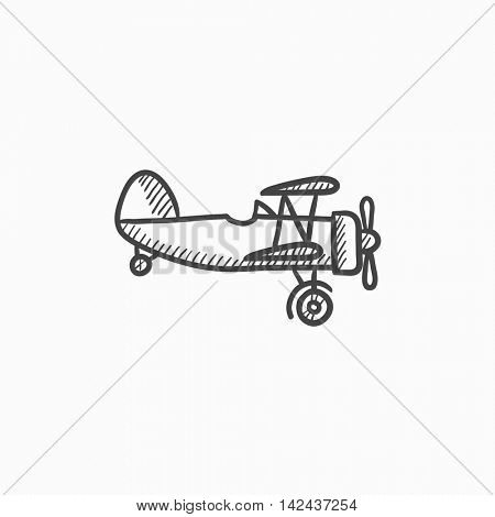 Propeller plane vector sketch icon isolated on background. Hand drawn Propeller plane icon. Propeller plane sketch icon for infographic, website or app.